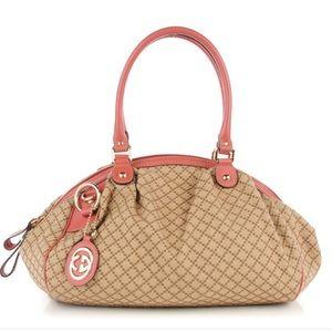 Gucci Sukey Boston Bag Diamante Canvas Purse Bag